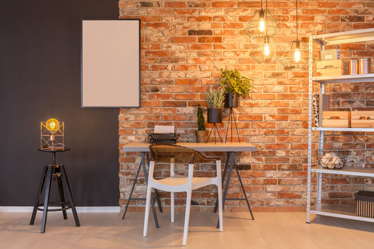 Loft apartment with brick wall