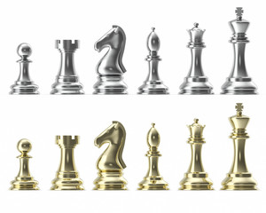 Silver and gold set of icons for chess, on white background, intelligent game, 3d rendering