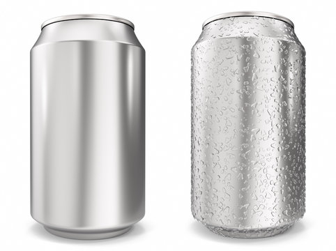 Set, water drops on aluminum cans, realistic 3d rendering isolated on white background