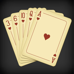 Flush of hearts - vintage playing cards vector illustration