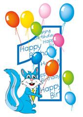 buon compleanno bambino numero 1 con scoiattolo