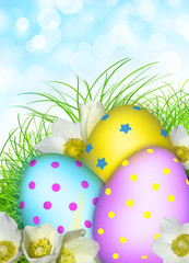 Easter card. Eggs, flowers, grass, 3d