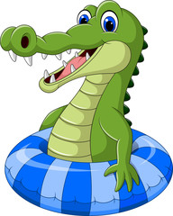 Cartoon crocodile with inflatable ring