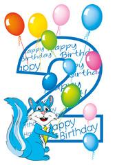 buon compleanno bambino numero 2 con scoiattolo