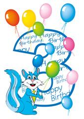 buon compleanno bambino numero 3 con scoiattolo