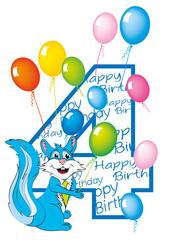 buon compleanno bambino numero 4 con scoiattolo