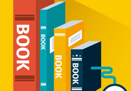E-Learning Infographic with Books and Mouse