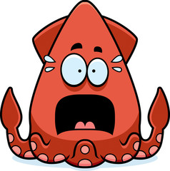 Scared Cartoon Squid