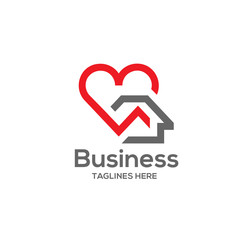 house and heart logo vector. home care logo vector, Heart love, love home familly logo , royalty. Realty logo, mortgage. Real estate. Lawyer office. Development logo