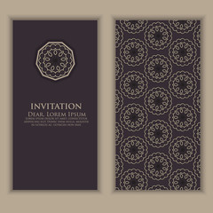 Invitation, cards with ethnic arabesque elements. Arabesque style design. Business cards. Elegant ornate damask background. Elegant floral abstract ornament. Design template.