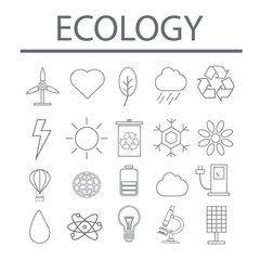 Vector illustration of thin line icons for ecology. Linear symbols set.