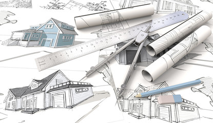 Blue theme Architectural workplace.  Top view of Architectural house blueprints , drawings and sketches. Rolls, Ruler, Pencil, Eraser and Divider of metal.3D render.