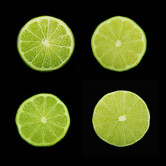 lime slices on black background isolated