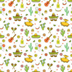 Cinco de Mayo (Fifth of May) seamless pattern.