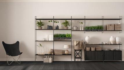 Fototapeta Eco white interior design with wooden bookshelf, diy vertical garden storage shelving, living, lounge relax area with armchair obraz