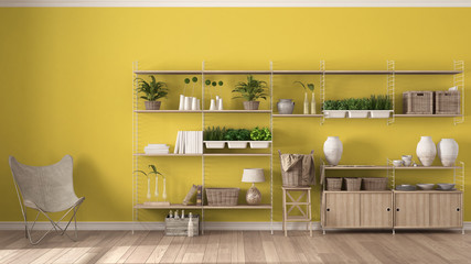Eco yellow interior design with wooden bookshelf, diy vertical garden storage shelving, living, lounge relax area with armchair