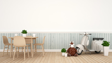giraffe doll and Vintage motorcycle in dining room - 3D Rendering