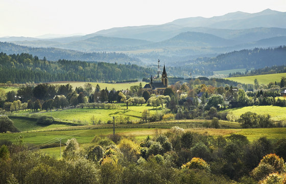 View of Lutowiska village in Bieszczady County. Poland