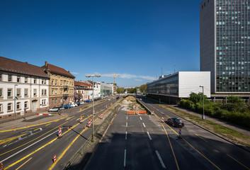 Großbaustelle Kriegsstraße in Karlsruhe