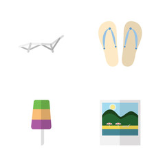 Flat Beach Set Of Sundae, Reminders, Beach Sandals Vector Objects. Also Includes Reminders, Sunbed, Flop Elements.