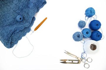 Crocheting. Knitting and crochet tools