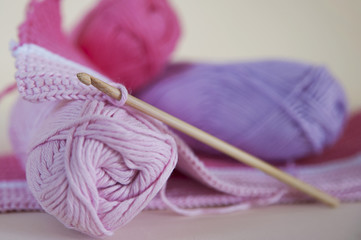Soft baby pink yarn for crochet and knitting projects