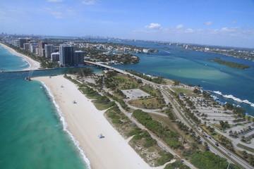 Paysage de la mer de Miami, Floride depuis un hélicopteur