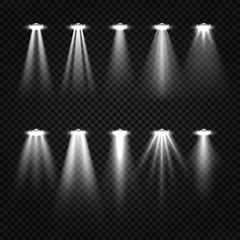 White beam lights, spotlights isolated on dark transparent background