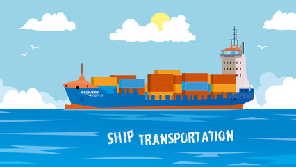 Cool detailed vector design element on seagoing freight transport with loaded container ship. Modern global cargo shipping background. Ideal for web site or social media network cover profile image