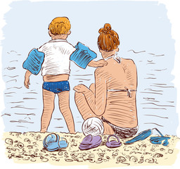 sketch of a mother with her kid on a beach