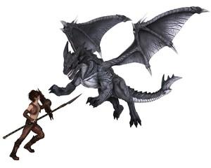Dragon Warrior Boy Fighting a Dragon - fantasy illustration