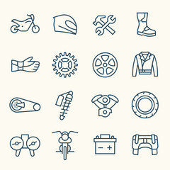 Motorcycle line icon set