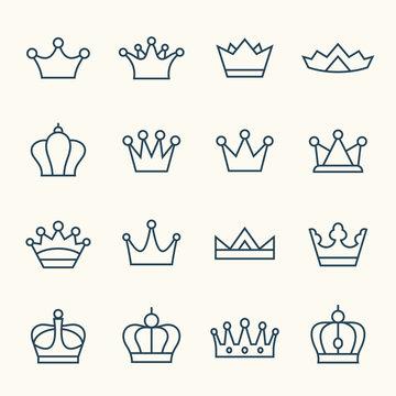 Crown line icon set