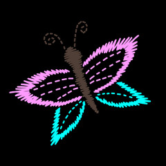 Embroidery stitches imitation butterfly isolated on the black background
