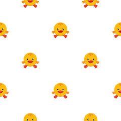 Vector seamless pattern with cute ducklings on white background