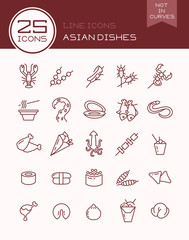Line icons Asian dishes