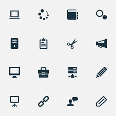Vector Illustration Set Of Simple Web Icons. Elements Schedule, Briefcase, Display And Other Synonyms Options, Assessment And Trim.