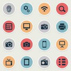 Vector Illustration Set Of Simple Hardware Icons. Elements Photocopier, Touch Computer, Camera And Other Synonyms Touch, Connection And Options.