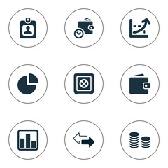Vector Illustration Set Of Simple Investment Icons. Elements Strongbox, Wallet, Progress And Other Synonyms Progress, Growth And Discount.