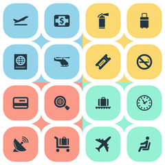 Vector Illustration Set Of Simple Transportation Icons. Elements Travel Bag, Luggage Carousel, Global Research And Other Synonyms Warning, Baggage And Certificate.