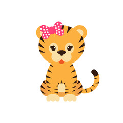 cartoon tiger with bow