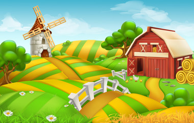 Farm field landscape, 3d vector background