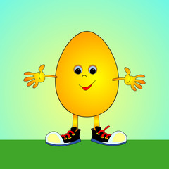 Animated eggs. Cartoon Easter egg. Abstract the egg. Vector illustration.