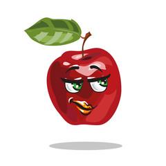 Cartoon apple character with smart look vector