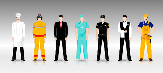 People of different professions in working clothes in full growth