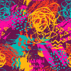 Vector colorful seamless pattern with brush strokes and dots. Pink blue orange redc olor on violet background. Hand painted grange texture. Ink geometric elements. Fashion modern style. Unusual bright