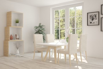 White dinner room with green landscape in window. Scandinavian interior design. 3D illustration