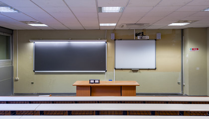 View of a classroom with blackboard and whiteboard Interactive LIM