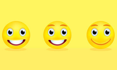Yellow smileys on the background
