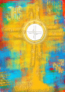Eucharistic monstrance for adoration of the Blessed Sacrament of the Altar. Abstract artistic modern background illustration